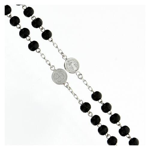 Rosario Medaglia San Benedetto argento 925 grani legno nero 7 mm 3