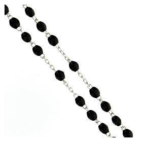Rosario plata 925 cruz tubular granos ovalados madera negra 8x6 mm s3