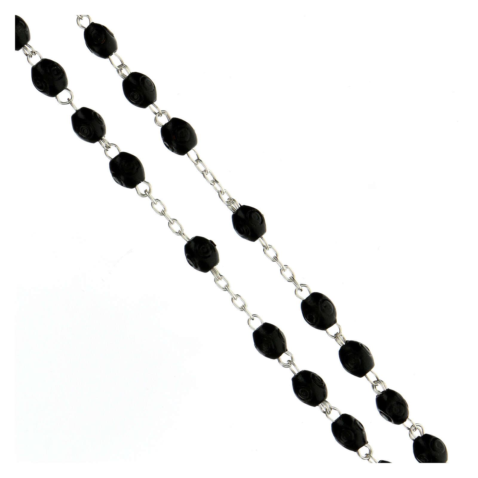 Rosario argento 925 croce tubolare grani ovali legno nero 8x6 mm 4