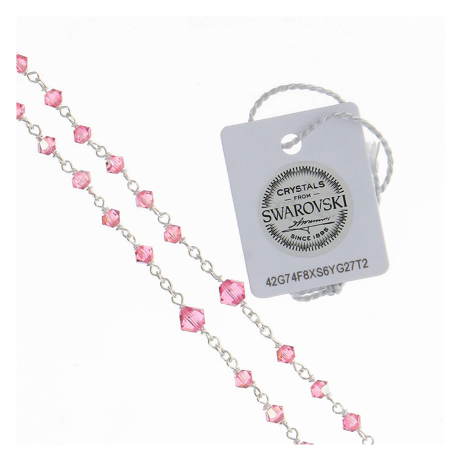 Rosario argento 925 Swarovski rosa 3 mm con chiusura 4