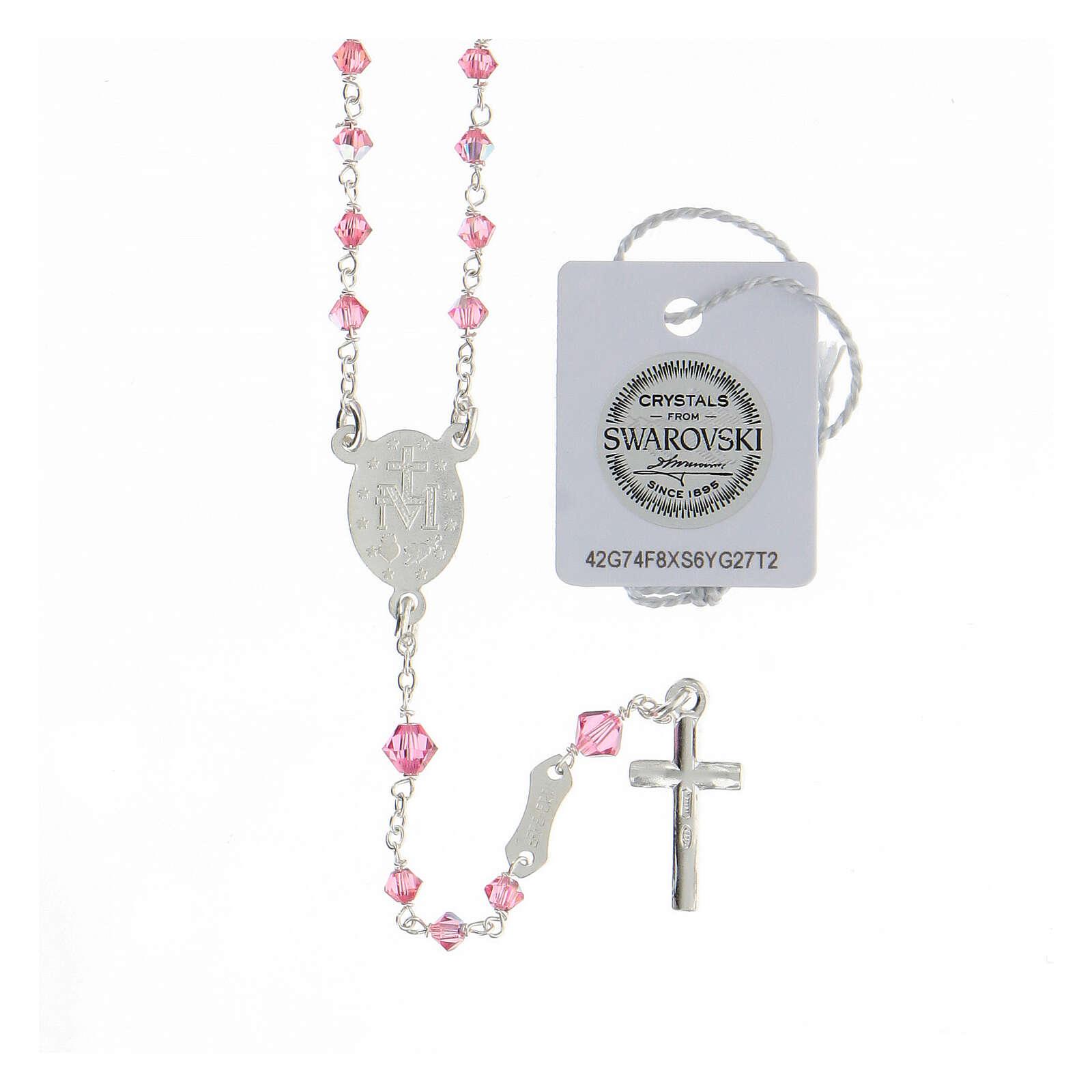 Terço prata 925 cristais Swarovski cor-de-rosa 3 mm com fecho mosquetão 4