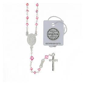 Terço prata 925 cristais Swarovski cor-de-rosa 3 mm com fecho mosquetão s2