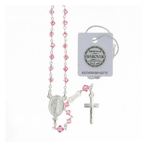 Terço prata 925 cristais Swarovski cor-de-rosa 3 mm com fecho mosquetão 1