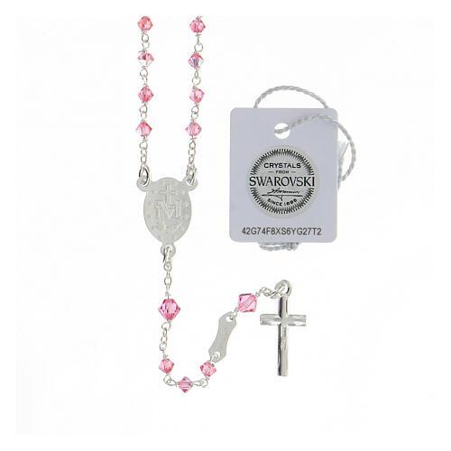 Terço prata 925 cristais Swarovski cor-de-rosa 3 mm com fecho mosquetão 2