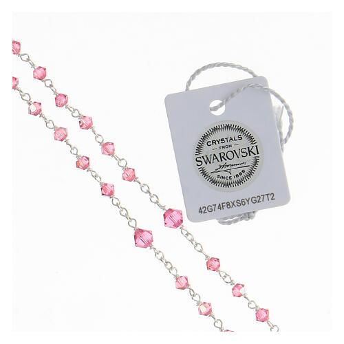 Terço prata 925 cristais Swarovski cor-de-rosa 3 mm com fecho mosquetão 3