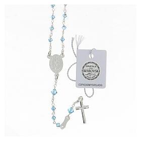 Rosario argento 925 Medaglia Miracolosa grani Swarovski azzurri 3 mm