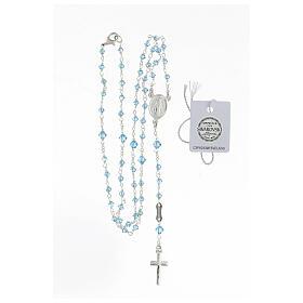 Rosario argento 925 Medaglia Miracolosa grani Swarovski azzurri 3 mm s4
