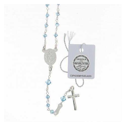 Rosario argento 925 Medaglia Miracolosa grani Swarovski azzurri 3 mm 2