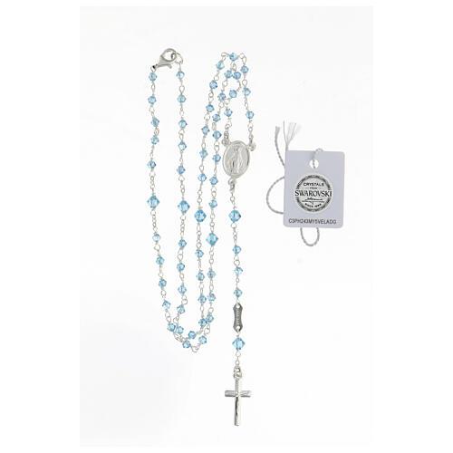 Rosario argento 925 Medaglia Miracolosa grani Swarovski azzurri 3 mm 4