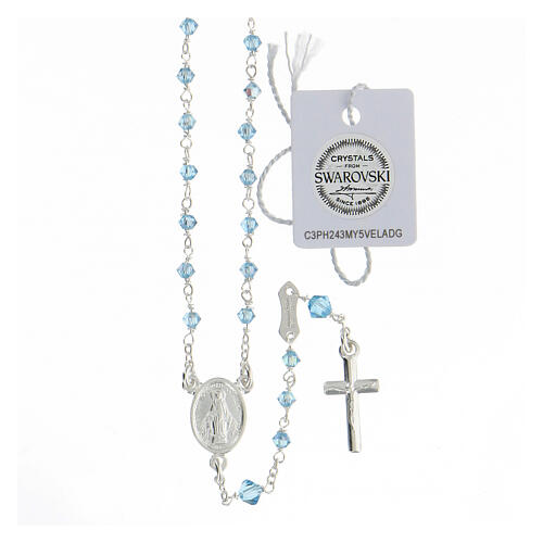 Terço prata 925 Medalha Milagrosa contas Swarovski azul claro 3 mm 1