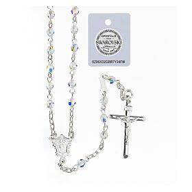 Terço prata 925 cruz tubular e contas cristais Swarovski brancos 4 mm s1