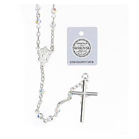 Terço prata 925 cruz tubular e contas cristais Swarovski brancos 4 mm s2