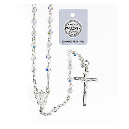 Terço prata 925 cruz tubular e contas cristais Swarovski brancos 4 mm 1
