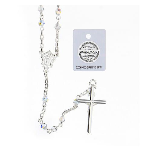 Terço prata 925 cruz tubular e contas cristais Swarovski brancos 4 mm 2