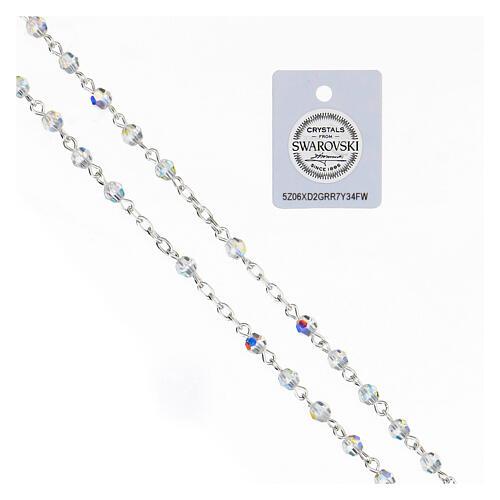 Terço prata 925 cruz tubular e contas cristais Swarovski brancos 4 mm 3
