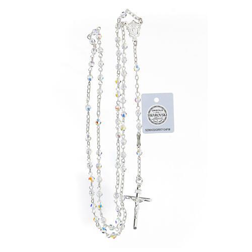 Terço prata 925 cruz tubular e contas cristais Swarovski brancos 4 mm 4