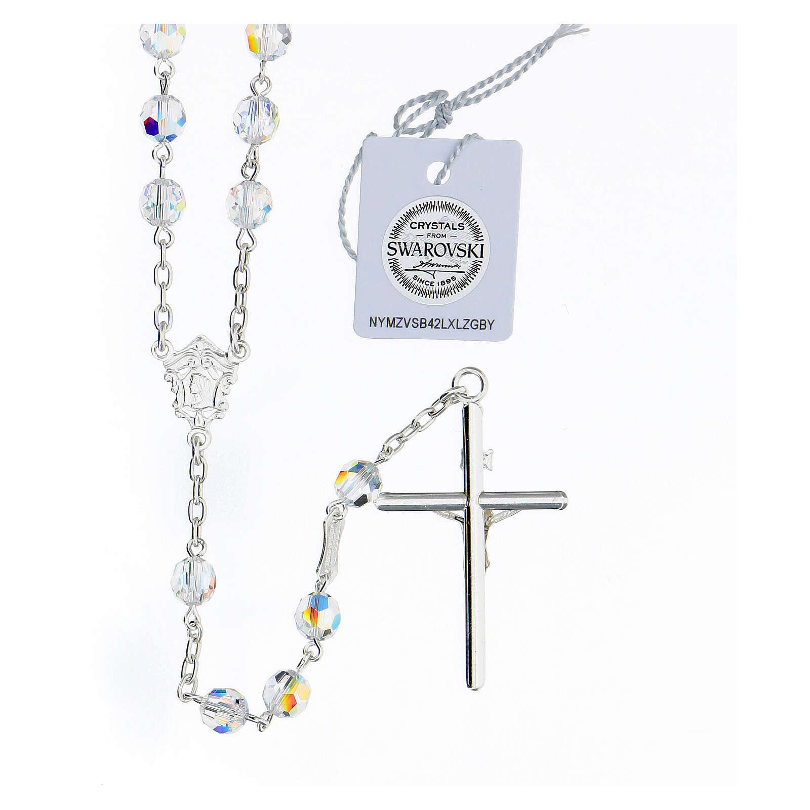 Rosario cruce rostro María plata 925 granos Swarovski blancos 6 mm 4