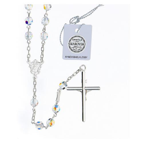 Rosario cruce rostro María plata 925 granos Swarovski blancos 6 mm 2
