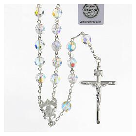 Terço passador decorado Nossa Senhora e Jesus prata 925 contas cristal Swarovski branco 8 mm s1
