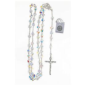 Terço passador decorado Nossa Senhora e Jesus prata 925 contas cristal Swarovski branco 8 mm s4
