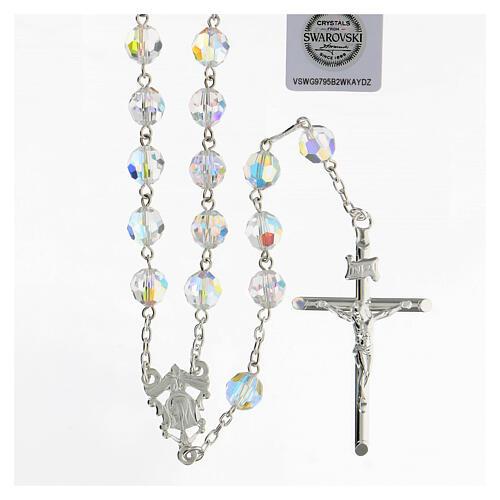Terço passador decorado Nossa Senhora e Jesus prata 925 contas cristal Swarovski branco 8 mm 1
