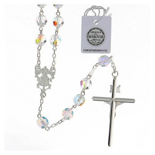 Terço passador decorado Nossa Senhora e Jesus prata 925 contas cristal Swarovski branco 8 mm 2