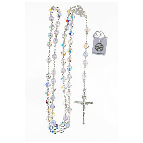 Terço passador decorado Nossa Senhora e Jesus prata 925 contas cristal Swarovski branco 8 mm 4