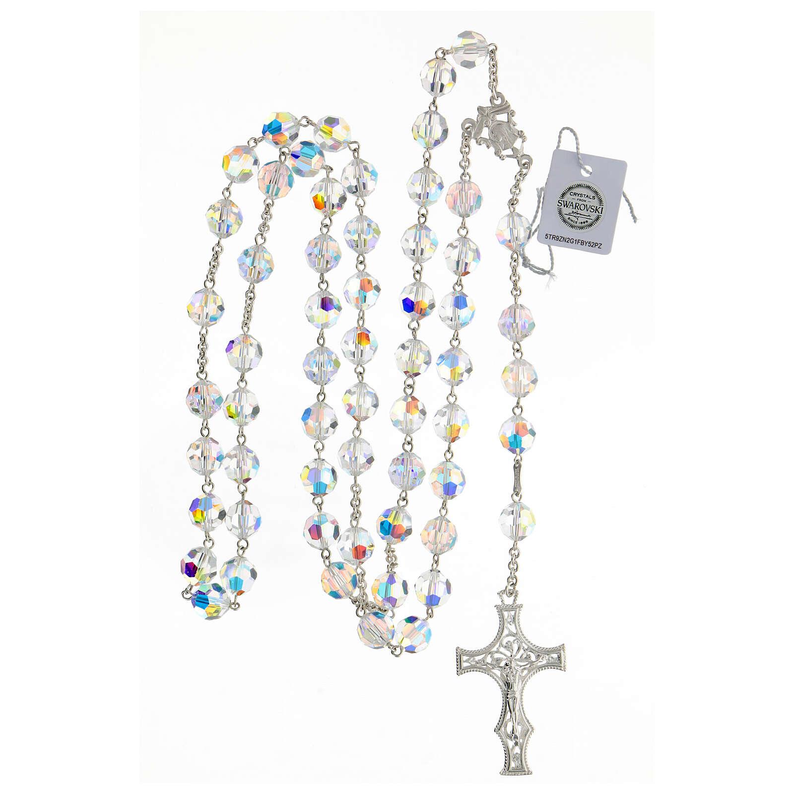 Terço cruz decorada Nossa Senhora e Jesus prata 925 contas cristal Swarovski branco 10 mm 4