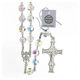 Terço cruz decorada Nossa Senhora e Jesus prata 925 contas cristal Swarovski branco 10 mm s1