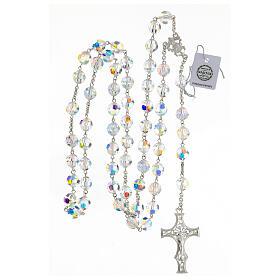 Terço cruz decorada Nossa Senhora e Jesus prata 925 contas cristal Swarovski branco 10 mm s4