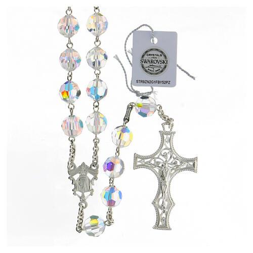 Terço cruz decorada Nossa Senhora e Jesus prata 925 contas cristal Swarovski branco 10 mm 1