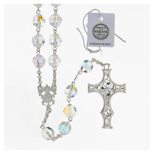 Terço cruz decorada Nossa Senhora e Jesus prata 925 contas cristal Swarovski branco 10 mm 2