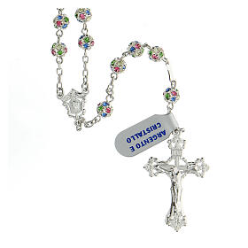 Rosario plata 925 granos cristales multicolor 6 mm cruz decorada s1