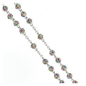Rosario plata 925 granos cristales multicolor 6 mm cruz decorada s3