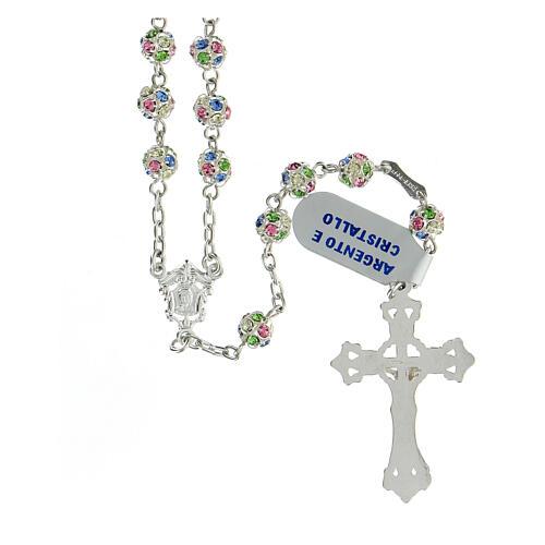Rosario plata 925 granos cristales multicolor 6 mm cruz decorada 2