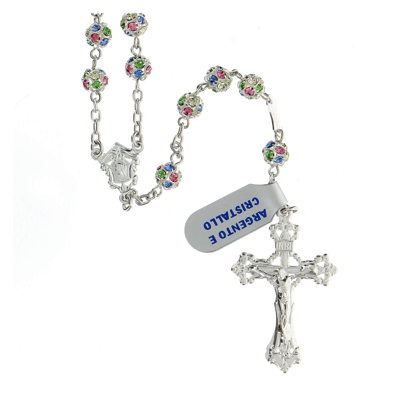 Chapelet argent 925 grains cristaux multicolores 6 mm croix décorée 4