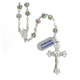 Chapelet argent 925 grains cristaux multicolores 6 mm croix décorée s1