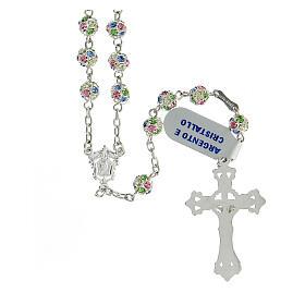 Chapelet argent 925 grains cristaux multicolores 6 mm croix décorée s2