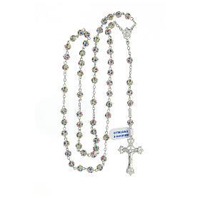 Chapelet argent 925 grains cristaux multicolores 6 mm croix décorée s4