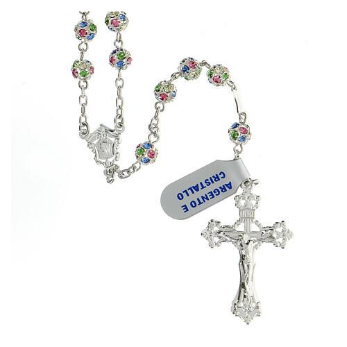 Chapelet argent 925 grains cristaux multicolores 6 mm croix décorée 1
