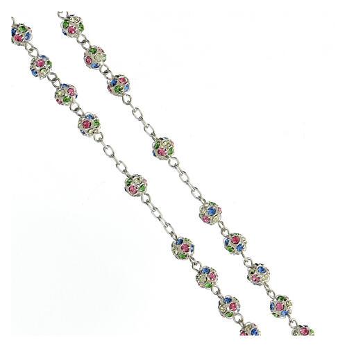 Chapelet argent 925 grains cristaux multicolores 6 mm croix décorée 3