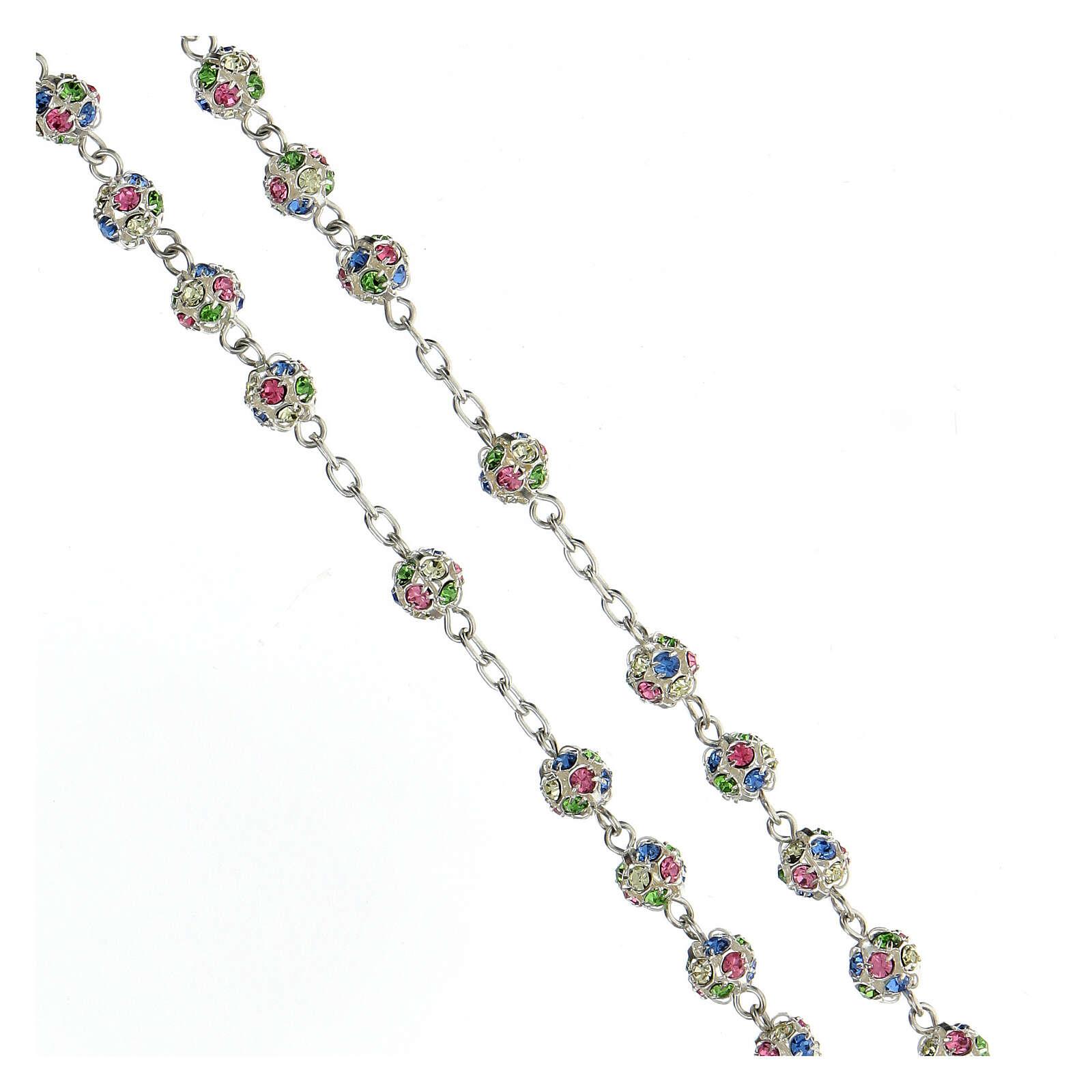 Rosario argento 925 grani cristalli multicolore 6 mm croce ornata 4