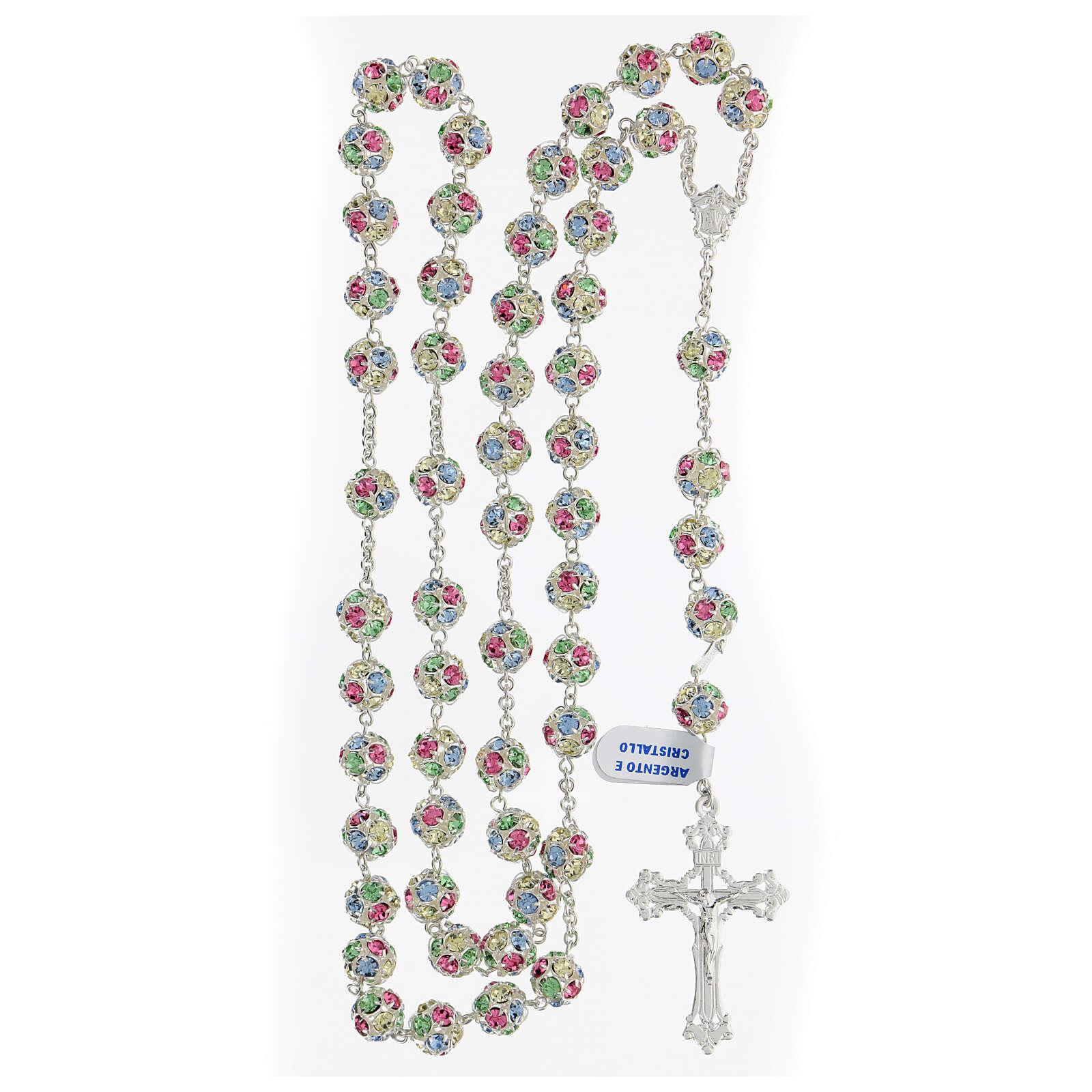 Rosario cristales coloreados granos 10 mm plata 925 cruz trilobulada 4