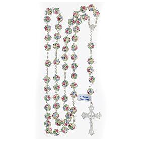 Rosario cristales coloreados granos 10 mm plata 925 cruz trilobulada s4