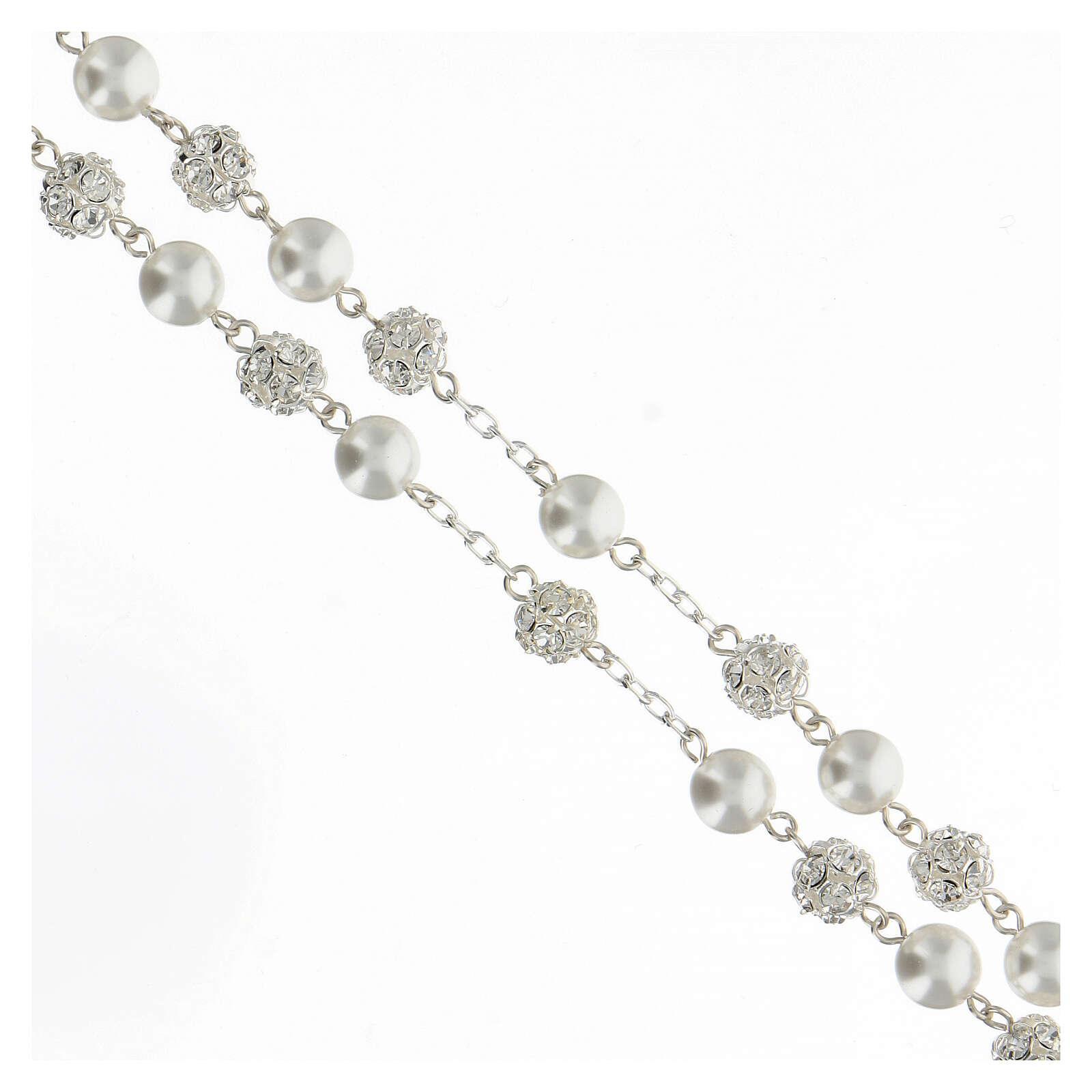 Rosario perlas cristales 8 mm plata 925 cruce perfil María 4