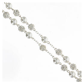 Rosario perlas cristales 8 mm plata 925 cruce perfil María s3