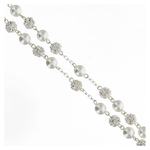 Rosario perlas cristales 8 mm plata 925 cruce perfil María 3