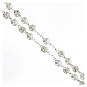 Rosario perle cristalli 8 mm argento 925 crociera profilo Maria s3