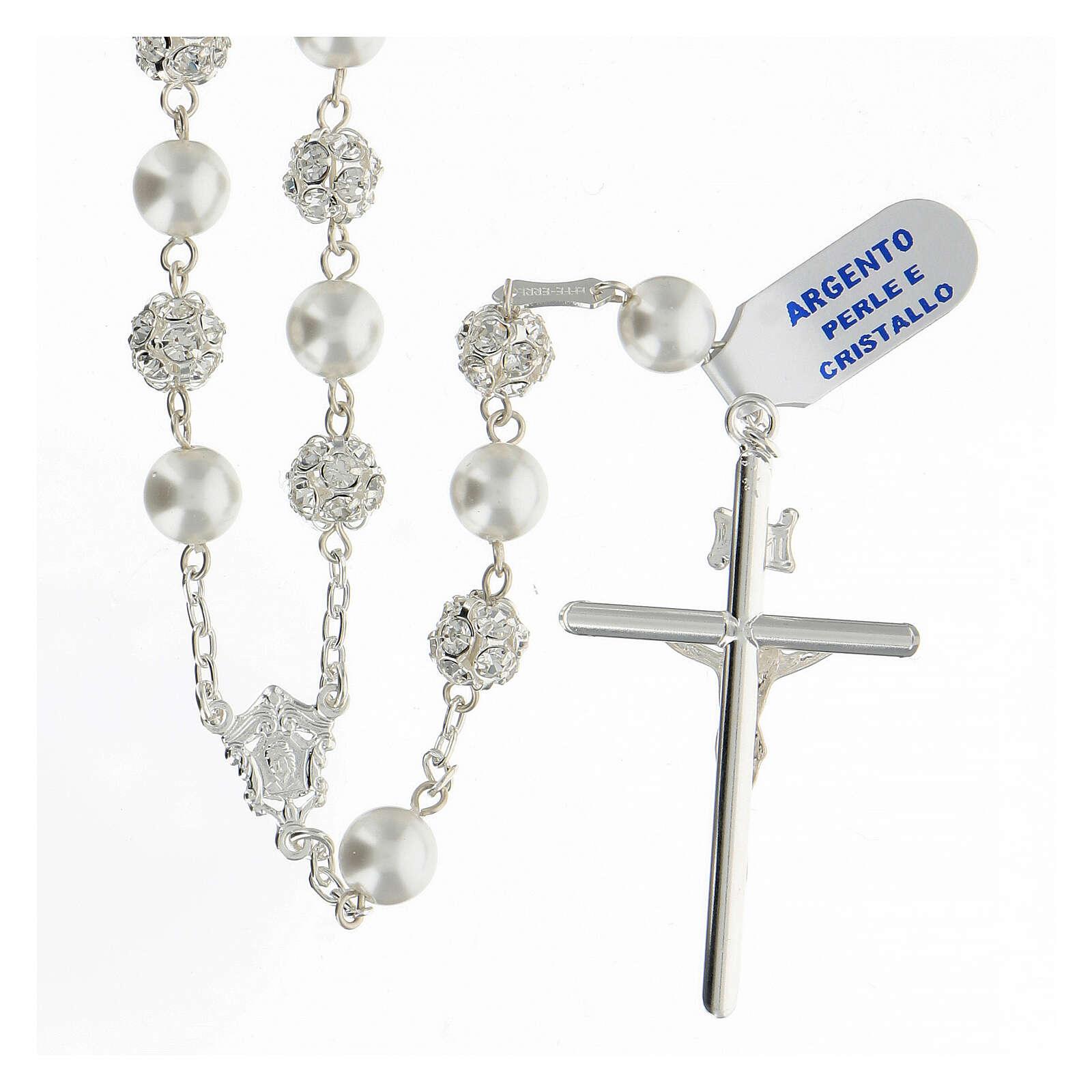 Terço prata 925 com contas pérolas e cristal 8 mm e passador com passador Nossa Senhora e Jesus 4