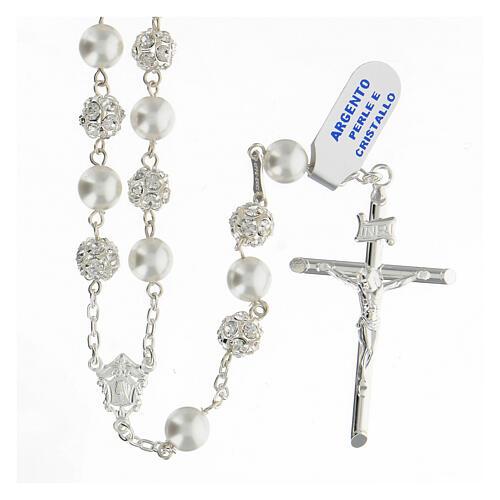 Terço prata 925 com contas pérolas e cristal 8 mm e passador com passador Nossa Senhora e Jesus 1